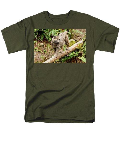 Bobcat In Forest Men's T-Shirt  (Regular Fit) by Teri Virbickis