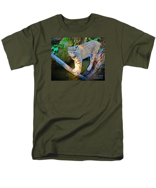 Bobcat Scanning The Water Men's T-Shirt  (Regular Fit) by Ansel Price