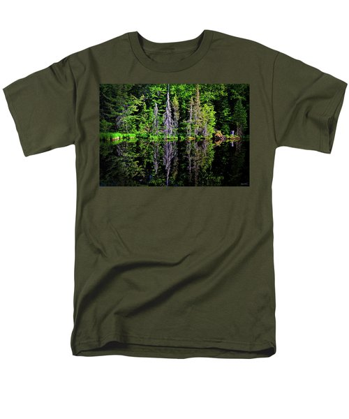 Bond Falls - Michigan 001 - Reflection Men's T-Shirt  (Regular Fit) by George Bostian