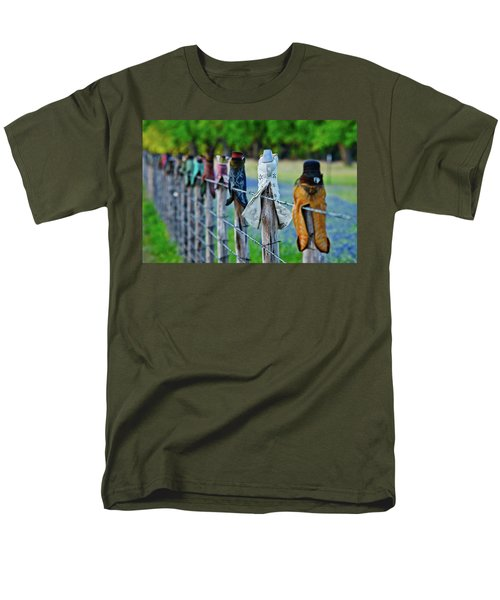 Men's T-Shirt  (Regular Fit) featuring the photograph Boots On The Fence by Linda Unger