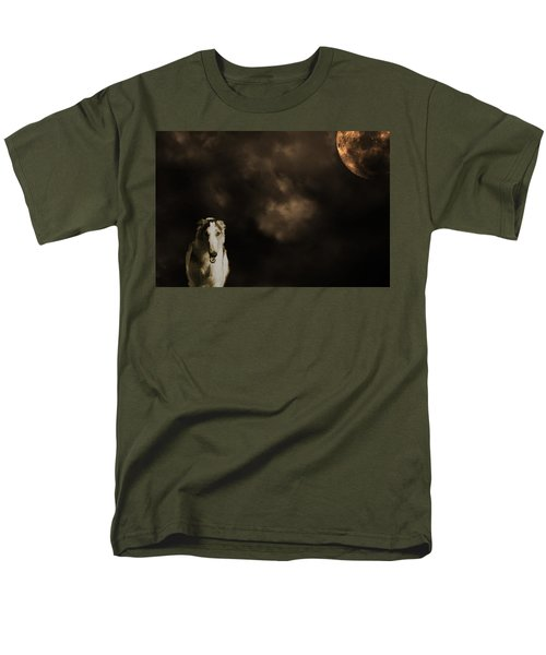 Borzoi Wolf Hound And Full Moon Men's T-Shirt  (Regular Fit) by Christian Lagereek