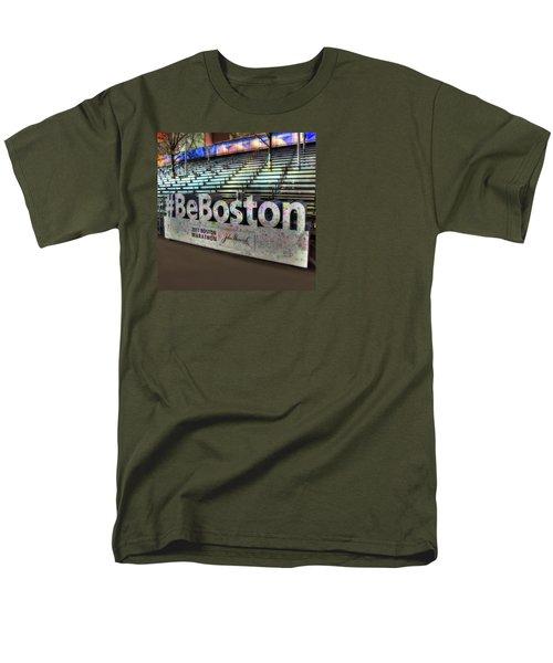 Men's T-Shirt  (Regular Fit) featuring the photograph Boston Marathon Sign by Joann Vitali