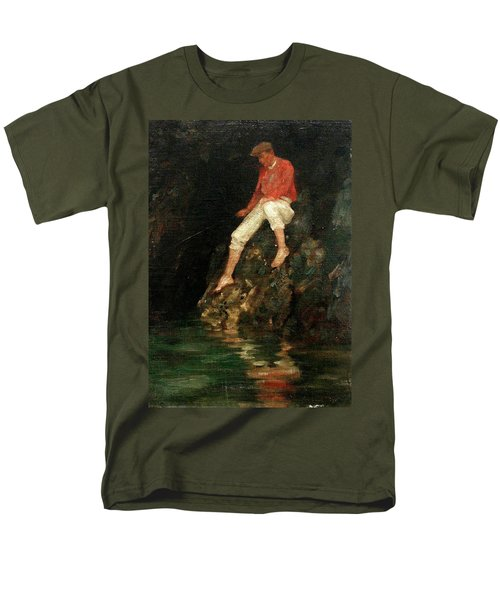 Men's T-Shirt  (Regular Fit) featuring the painting Boy Fishing On Rocks  by Henry Scott Tuke