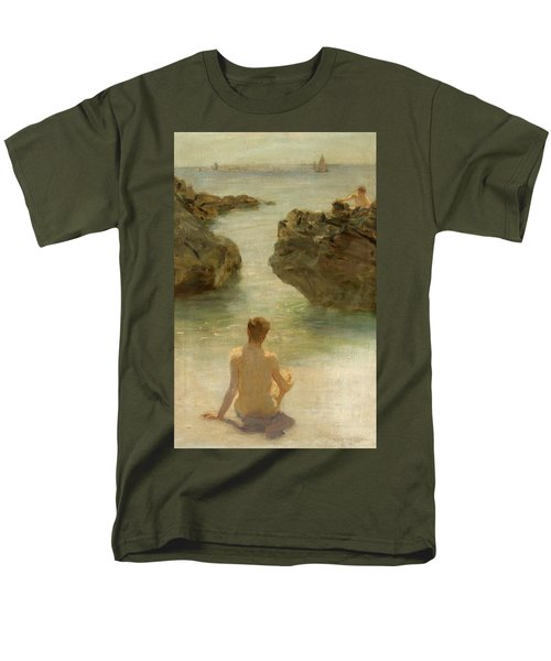 Men's T-Shirt  (Regular Fit) featuring the painting Boy On A Beach, 1901 by Henry Scott Tuke