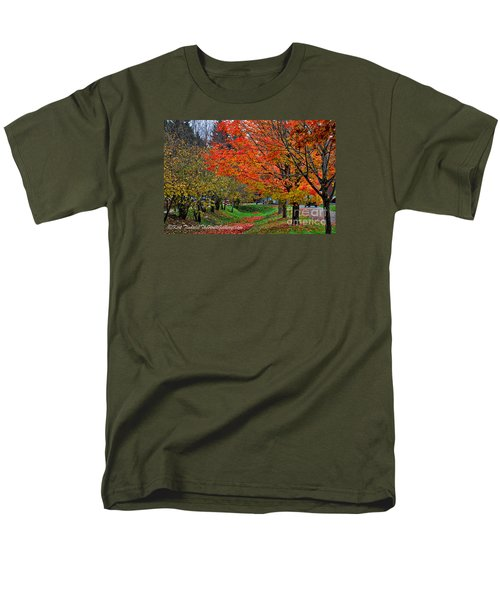 Men's T-Shirt  (Regular Fit) featuring the digital art Bright Orange Fall Colors by Kirt Tisdale