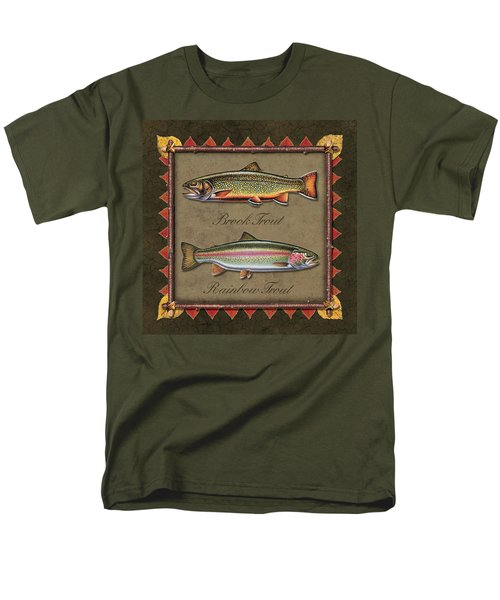 Men's T-Shirt  (Regular Fit) featuring the painting Brook And Rainbow Trout by JQ Licensing