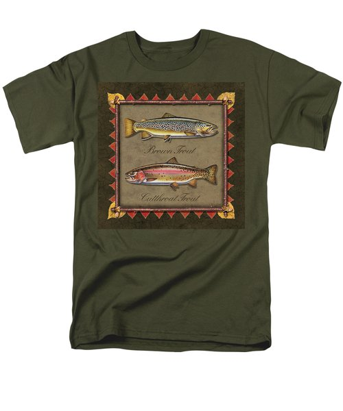 Men's T-Shirt  (Regular Fit) featuring the painting Brown And Cutthroat Trout by JQ Licensing