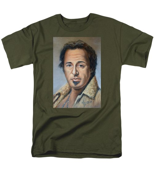 Bruce Springsteen Portrait Men's T-Shirt  (Regular Fit) by Melinda Saminski