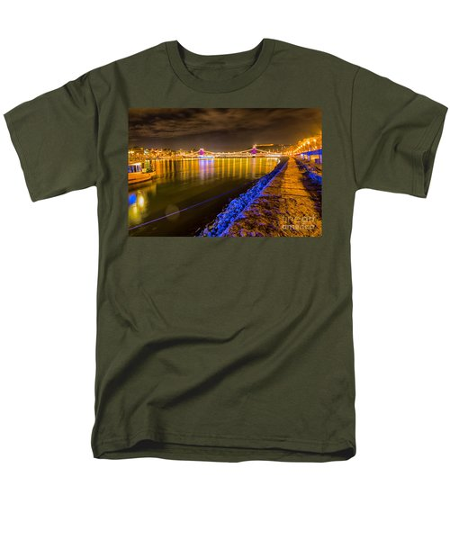 Men's T-Shirt  (Regular Fit) featuring the photograph Budapest At Night Lanchid Chain Bridge by Jivko Nakev