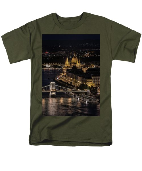 Men's T-Shirt  (Regular Fit) featuring the photograph Budapest View At Night by Jaroslaw Blaminsky