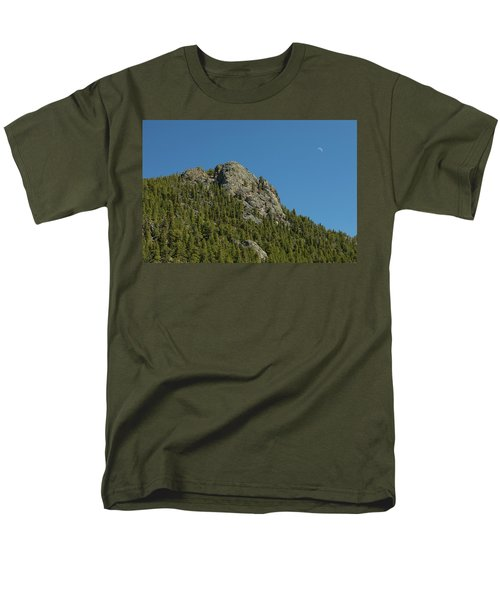 Men's T-Shirt  (Regular Fit) featuring the photograph Buffalo Rock With Waxing Crescent Moon by James BO Insogna