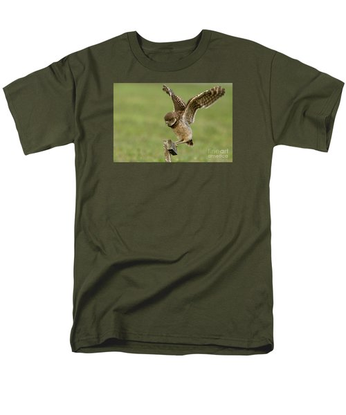Burrowing Owl - Learning To Fly Men's T-Shirt  (Regular Fit) by Meg Rousher
