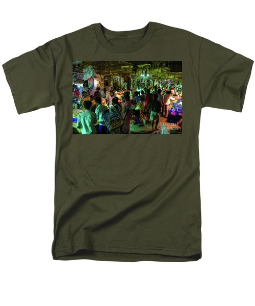 Men's T-Shirt  (Regular Fit) featuring the photograph Busy Chennai India Flower Market by Mike Reid