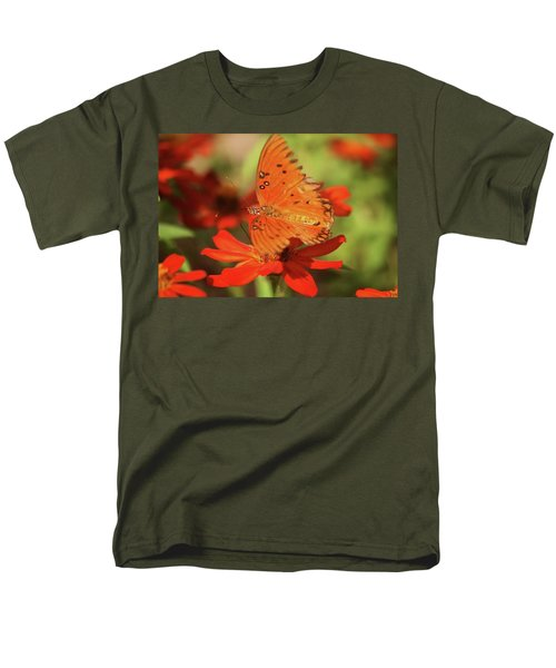 Men's T-Shirt  (Regular Fit) featuring the photograph Butterfly On Flower by Donna G Smith