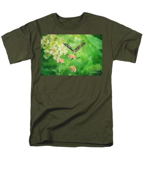 Butterfly On Lantana Montage Men's T-Shirt  (Regular Fit) by Toma Caul