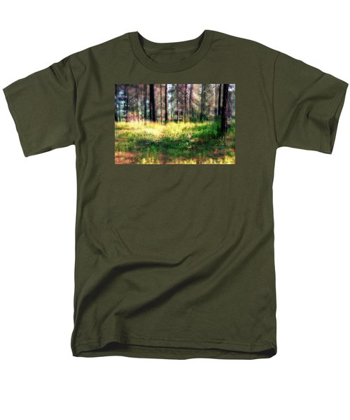 Men's T-Shirt  (Regular Fit) featuring the photograph Cabin In The Woods In Menashe Forest by Dubi Roman
