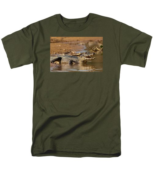 Caiman With Open Mouth Men's T-Shirt  (Regular Fit)