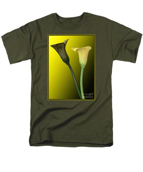Men's T-Shirt  (Regular Fit) featuring the photograph Cala Lilies Opposites by Shirley Mangini