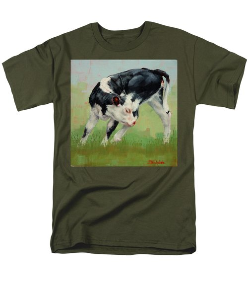Men's T-Shirt  (Regular Fit) featuring the painting Calf Contortions by Margaret Stockdale