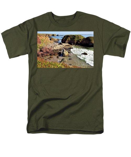 California Coast Rocks Cliffs Iceplant Men's T-Shirt  (Regular Fit) by Dan Carmichael