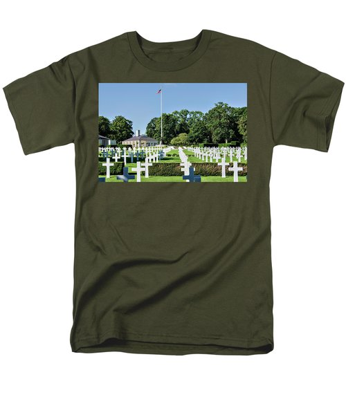 Men's T-Shirt  (Regular Fit) featuring the photograph Cambridge England American Cemetery by Alan Toepfer