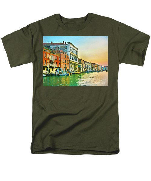 Men's T-Shirt  (Regular Fit) featuring the photograph Canal Sunset - Venice by Tom Cameron