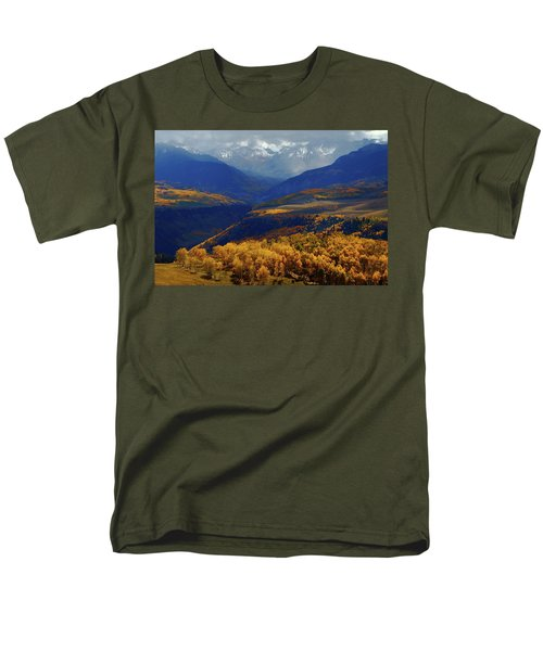 Men's T-Shirt  (Regular Fit) featuring the photograph Canyon Shadows And Light From Last Dollar Road In Colorado During Autumn by Jetson Nguyen