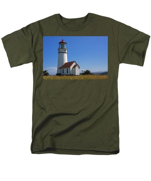 Cape Blanco Lighthouse H Men's T-Shirt  (Regular Fit) by Inge Riis McDonald