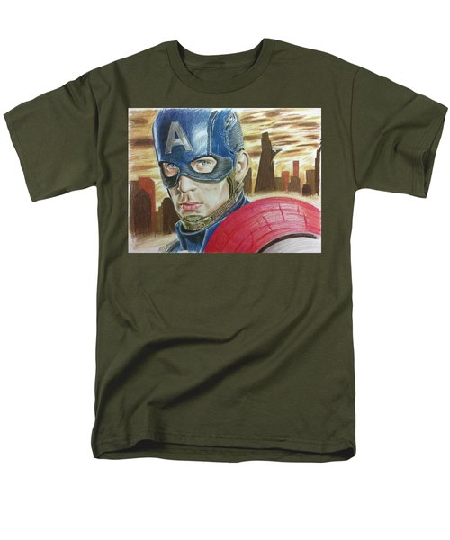Men's T-Shirt  (Regular Fit) featuring the drawing Captain America by Michael McKenzie