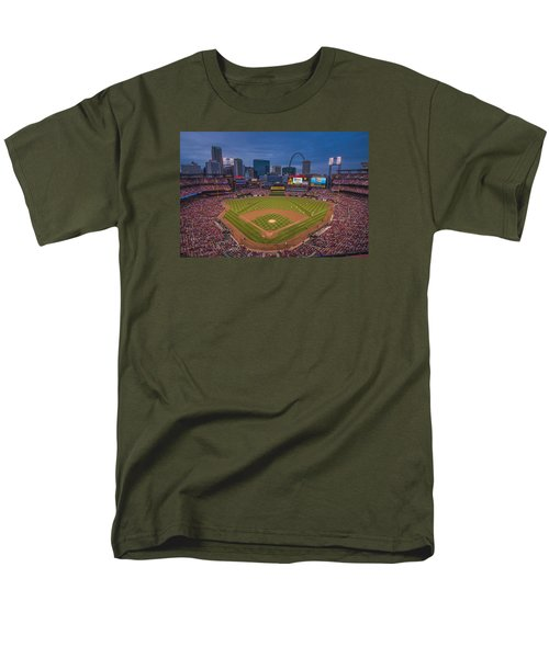 Cardinal Nation Busch Stadium St. Louis Cardinals Twilight 2015 Men's T-Shirt  (Regular Fit) by David Haskett