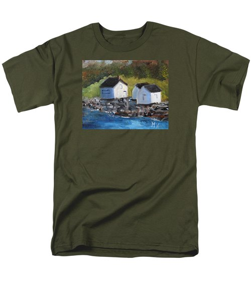 Men's T-Shirt  (Regular Fit) featuring the painting Casco Bay Boat Houses by Michael Helfen