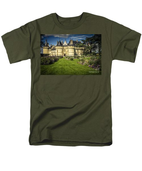 Men's T-Shirt  (Regular Fit) featuring the photograph Castle Chaumont With Garden by Heiko Koehrer-Wagner