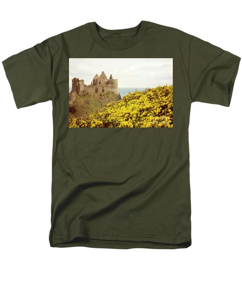 Men's T-Shirt  (Regular Fit) featuring the photograph Castle Ruins And Yellow Wildflowers Along The Irish Coast by Juli Scalzi