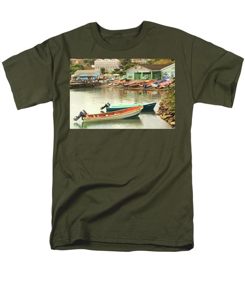 Men's T-Shirt  (Regular Fit) featuring the photograph Castries Harbor Waterfront by Roupen  Baker