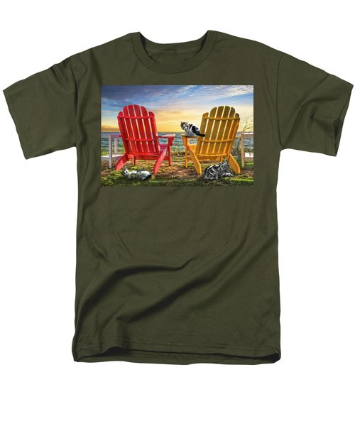 Men's T-Shirt  (Regular Fit) featuring the photograph Cat Nap At The Beach by Debra and Dave Vanderlaan