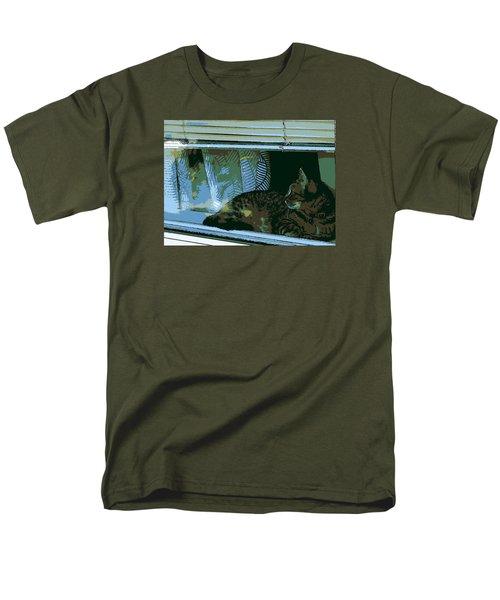 Cat Observing From Window Men's T-Shirt  (Regular Fit) by John Rossman