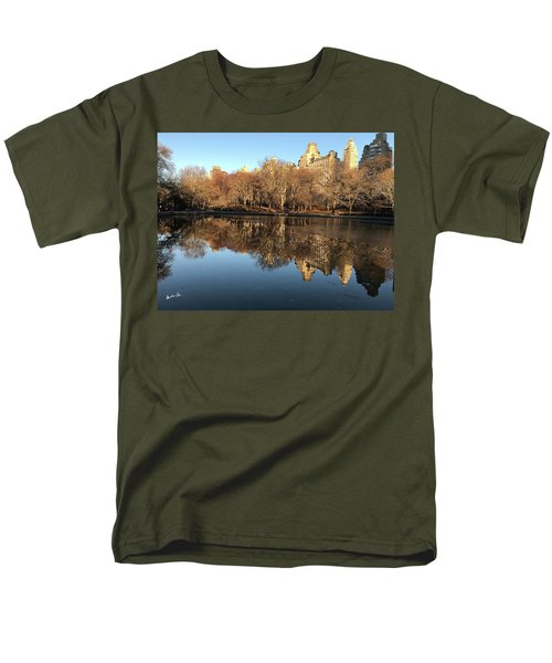Men's T-Shirt  (Regular Fit) featuring the photograph Central Park City Reflections by Madeline Ellis
