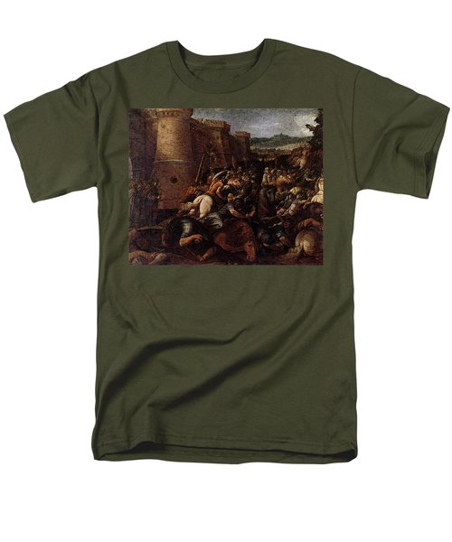 Cesari Giuseppe St Clare With The Scene Of The Siege Of Assisi Men's T-Shirt  (Regular Fit) by Giuseppe Cesari