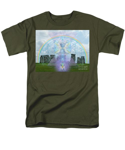 Men's T-Shirt  (Regular Fit) featuring the digital art Chalice Over Stonehenge In Flower Of Life And Man by Christopher Pringer