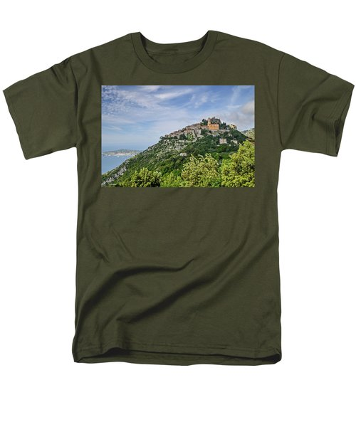 Men's T-Shirt  (Regular Fit) featuring the photograph Chateau D'eze On The Road To Monaco by Allen Sheffield