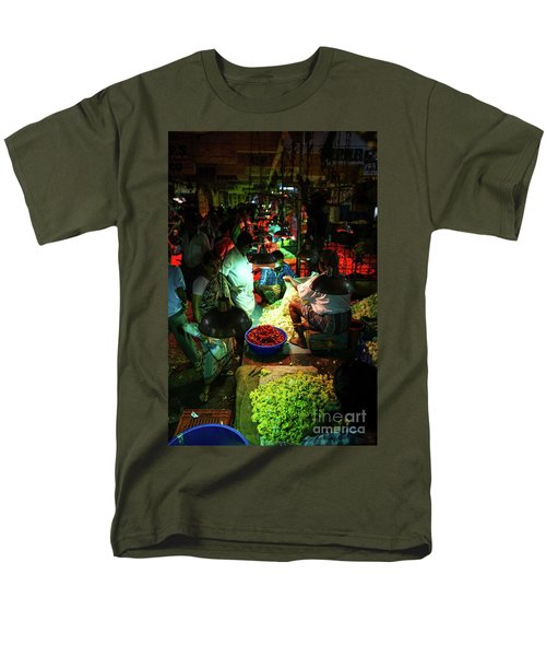 Men's T-Shirt  (Regular Fit) featuring the photograph Chennai Flower Market Stalls by Mike Reid