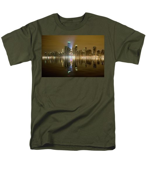 Men's T-Shirt  (Regular Fit) featuring the photograph Chicago Skyline With Lindbergh Beacon On Palmolive Building by Peter Ciro