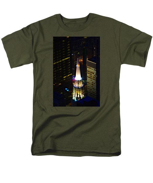 Men's T-Shirt  (Regular Fit) featuring the photograph Chicago Temple Building Steeple by Richard Zentner