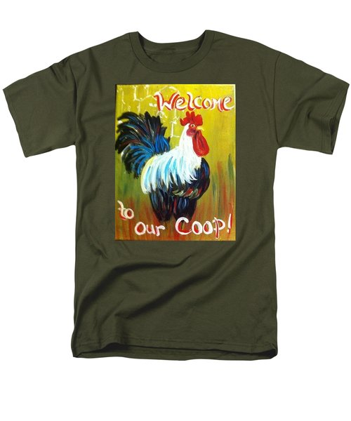 Chicken  Welcome Sign 1 Men's T-Shirt  (Regular Fit)