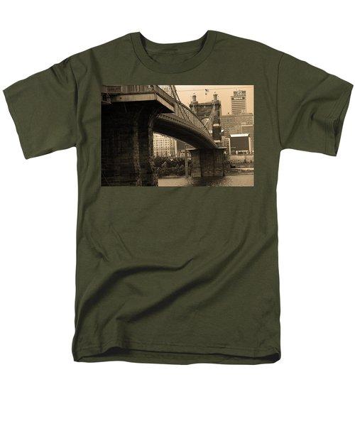 Cincinnati - Roebling Bridge 2 Sepia Men's T-Shirt  (Regular Fit) by Frank Romeo