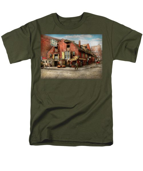Men's T-Shirt  (Regular Fit) featuring the photograph City - Pa - Fish And Provisions 1898 by Mike Savad