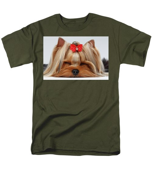 Closeup Yorkshire Terrier Dog With Closed Eyes Lying On White  Men's T-Shirt  (Regular Fit) by Sergey Taran
