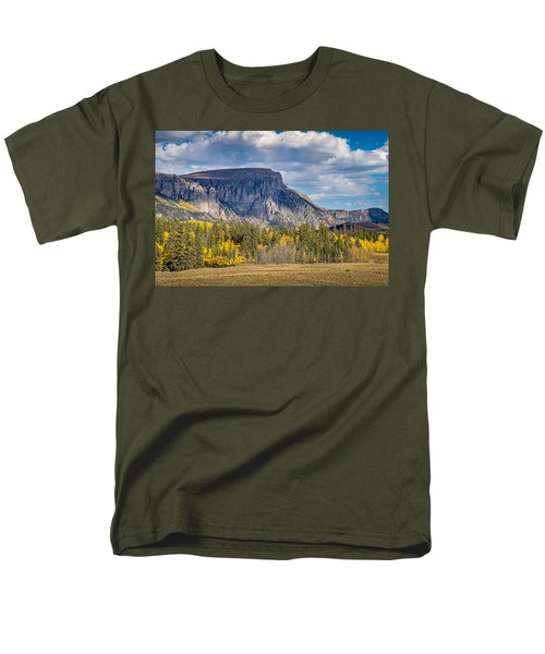 Colorado Fall Landscape With Aspen Trees Between Creede And Lake Men's T-Shirt  (Regular Fit) by John Brink