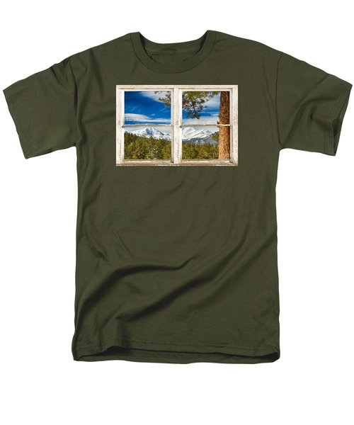 Colorado Rocky Mountain Rustic Window View Men's T-Shirt  (Regular Fit)