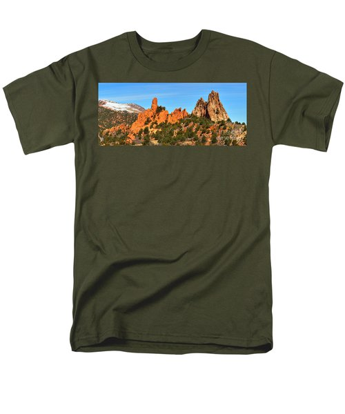 Men's T-Shirt  (Regular Fit) featuring the photograph Colorado Springs Garden Of The Gods High Point Panorama by Adam Jewell